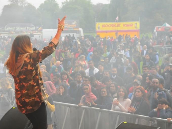 Mela singer on stage